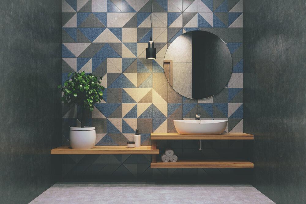 uneven bathroom tile border